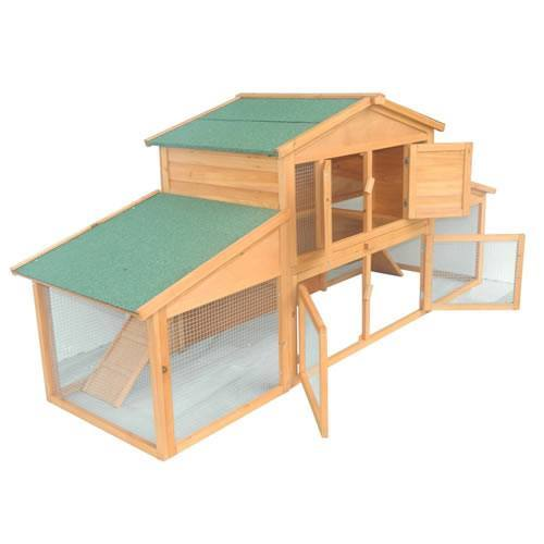 Pawhut 91 Deluxe Large Wooden Chicken Coop w Large Outdoor Run