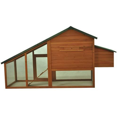 Pawhut Green Roof Wooden Chicken Coop & Nesting Box